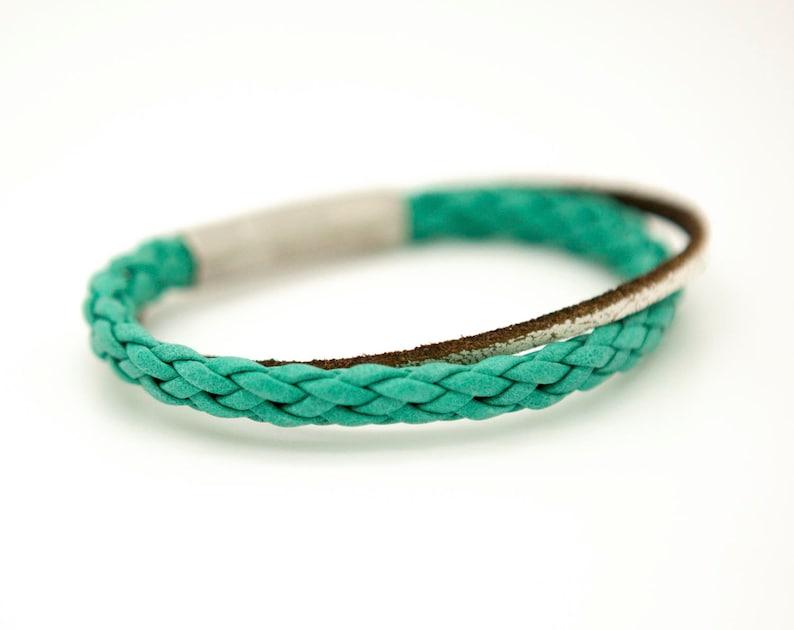 the Django ocean green leather cuff bracelet Green braided cuff