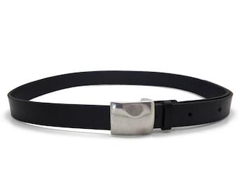 Black leather belt, men's black belt, handmade belt, classic buckle - the Taylor