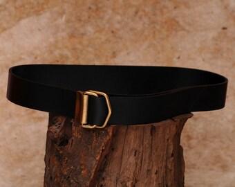 Black leather belt, men's black belt, handmade belt - Double D ring belt - the Flip