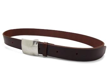 Dark brown leather belt, men's brown belt, handmade belt, classic buckle - the Taylor