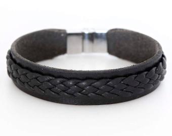 Mens black leather bracelet, Mens cuff bracelet, Mens jewelry - the Twain Cuff
