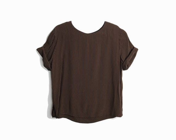 Vintage 90s Minimalist Stripe Blouse / Crepe Blouse in Black & Bronze Stripe / Short Sleeve Top / Boxy Top - women's medium