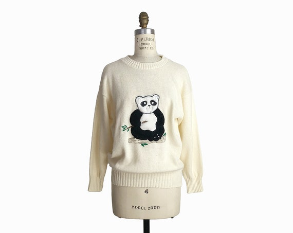 vintage panda sweater | 1970s tacky sweater
