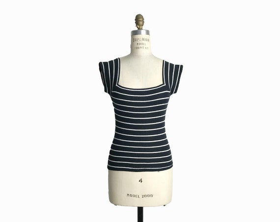 Vintage 90s Striped Cap Sleeve Top / Black and White Striped Tee with Squared Neck - women's xs/small