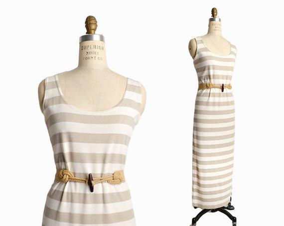 Vintage 90s Striped Tank Dress in Beige & Natural / Minimalist Maxi Dress / Preppy Striped Dress - women's small