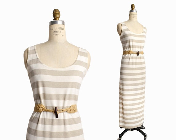 natural stripe maxi dress | summer tank dress