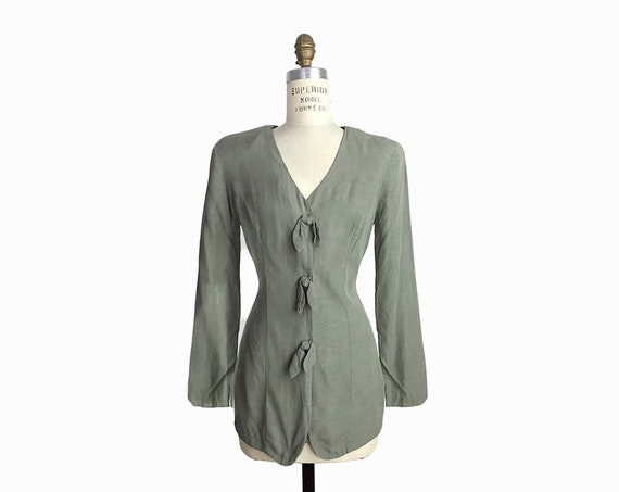 Vintage 90s Lightweight Jacket Top in Brushed Sage / Distressed Jacket / Power Shoulders / Sage Green - women's small
