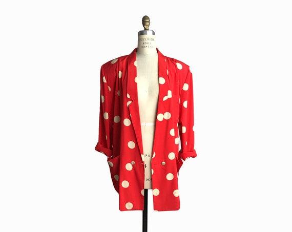 Vintage 80s Oversized Polka Dot Jacket / 80s/90s Silky Jacket / Red & White Polka Dots - women's medium/large