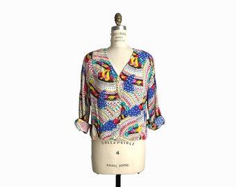 Vintage 80s Fruit Print Blouse Jacket / Chiquita Banana Top / Carole Little Saint Tropez West - women's medium