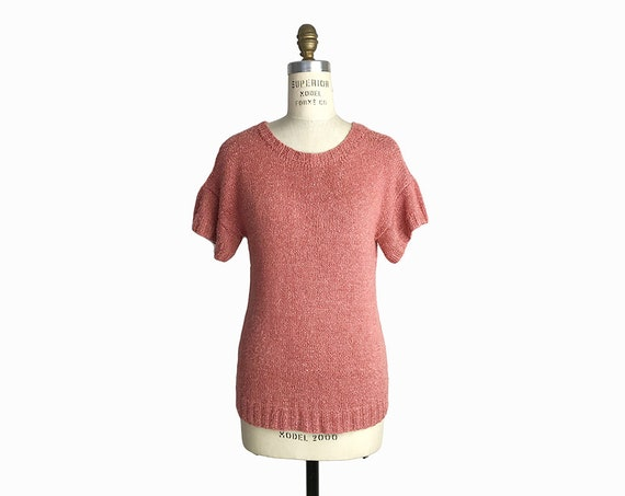 Vintage 80s Short-Sleeve Sweater in Dusty Rose Pink / Pretty in Pink - women's medium