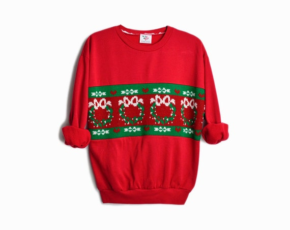 Vintage Ugly Christmas Sweater / Knitted Red Holiday Sweater / Tacky Holiday Sweatshirt with Christmas Wreaths - women's medium