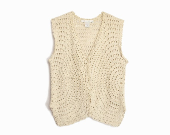 almond crochet-knit vest | cotton top
