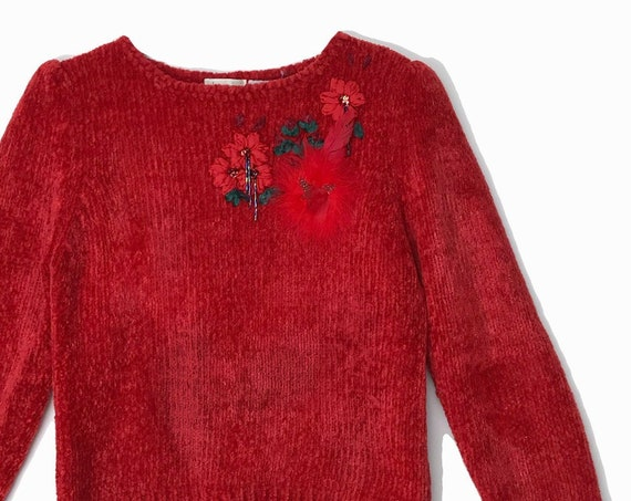 red chenille holiday sweater | fancy ugly Christmas sweater
