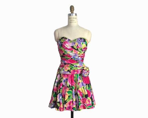 80s floral party dress