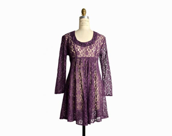 Vintage 90s Purple Lace Babydoll Dress / Sheer Grunge Mini Dress - women's small