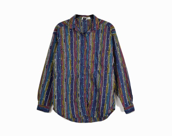 Vintage 80s Wavy Striped Party Shirt in Black Rainbow / Oversized Pocket Shirt / Colorful 1980s Top - women's medium