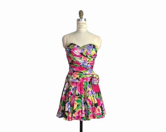 Vintage 80s Strapless Floral Party Dress / Gathered & Smocked Summer Dress - women's small