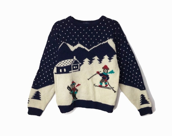 Vintage 90s Ski Slope Teddy Bear Sweater / Vintage Ugly Christmas Sweater / Woolrich Christmas Tacky Sweater - women's small/medium