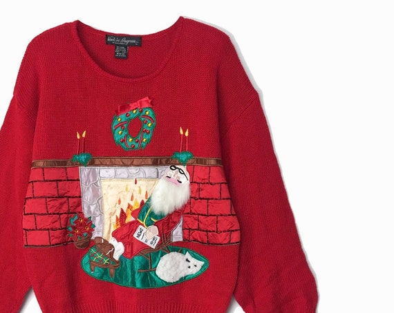 vintage 90s ugly Christmas sweater / Santa sweater