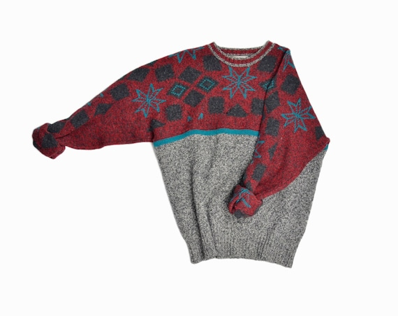 Vintage Men's PRINGLE Shetland Wool Snowflake Sweater / Holiday Christmas Sweater / Tacky Ugly Sweater Party- men's xl