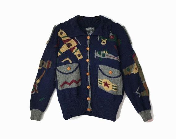 Vintage 80s Airplane Sweater Jacket / 80s Ugly Sweater / Amelia Earhart Aviator Cardigan Hand Knit Wool Berek Sweater - women's medium/large
