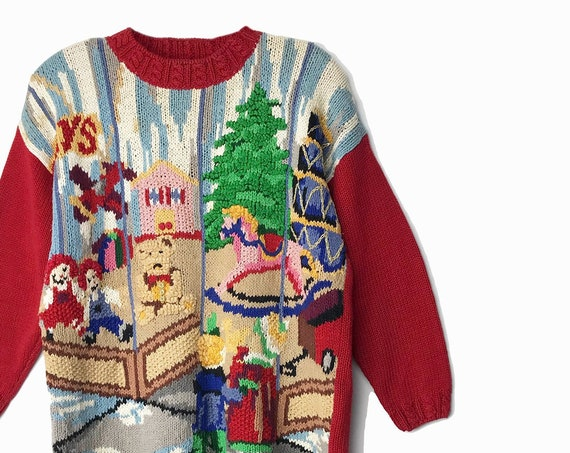 90s tacky Christmas sweater | toy shop | Ugly Christmas Sweater