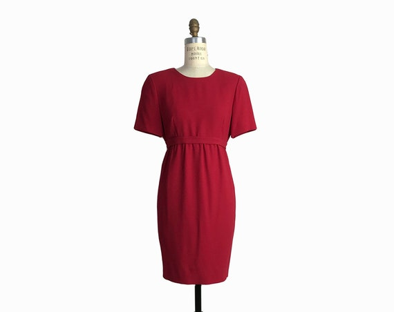 90s Vintage Valetine's Day Dress in Cherry Red / Short Sleeve Empire Waist Dress / 90s Clueless Dress - women's medium petite