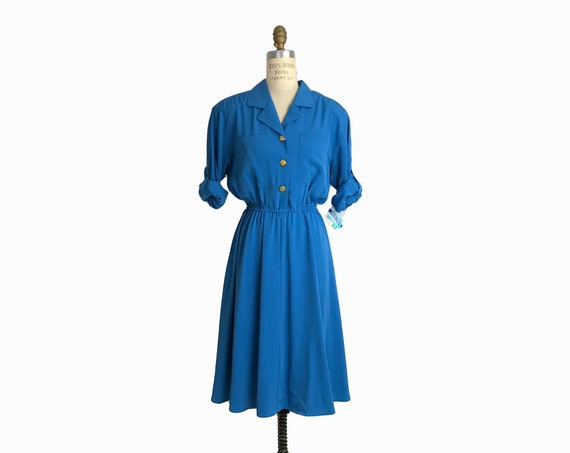 blue silky shirtdress | vintage 80s shirt dress