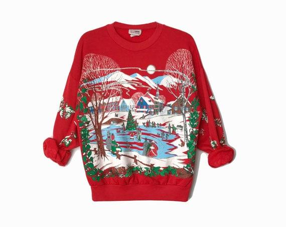 90s Ugly Christmas Sweater / Red Christmas Sweatshirt / Ice Skating Pond / Vintage Tacky Sweater / Winter Wonderland - Women's Medium