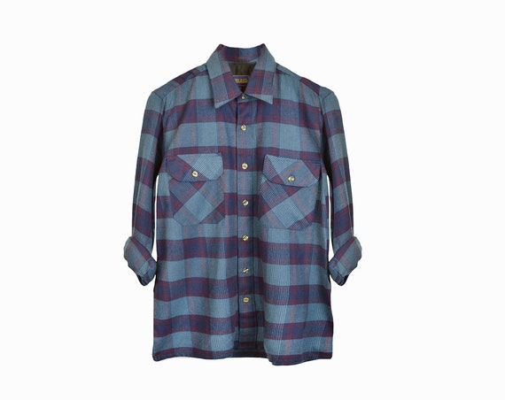 Vintage Camp Plaid Flannel Shirt in Blue & Red  / Flannel Woodsman Shirt - men's medium