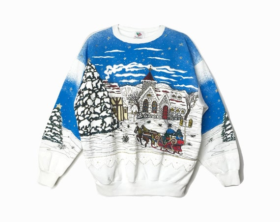 90s White Ugly Christmas Sweater / Vintage Tacky Sweater with Stone Church & Horse Sleigh / Holiday Sweatshirt - Women's XL