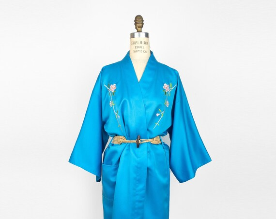 blue satin Japanese kimono | vintage embroidered kimono | cherry blossom festival | sakura