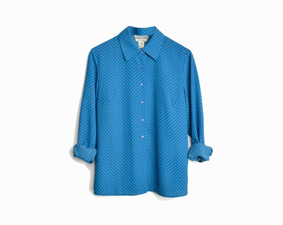 Vintage Pendleton Polka Dot Blouse / Blue Polka Dot Shirt / Vintage Pendleton - women's medium/large