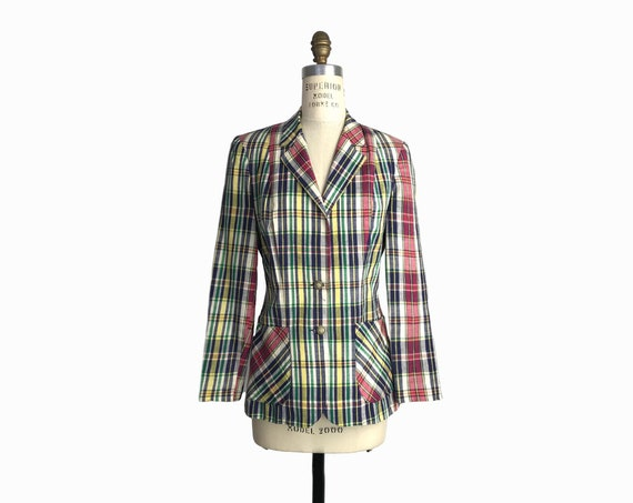 Vintage 1970s Madras Plaid Blazer Jacket / Yuppy Blazer - Women's Small