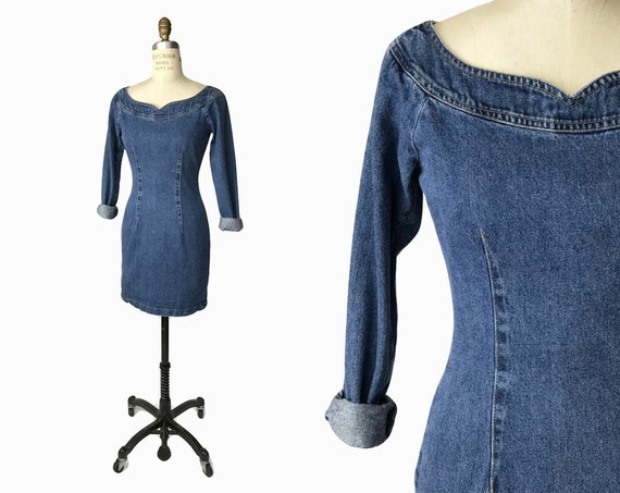 Vintage 1980s Tight Denim Dress / Long Sleeve Jean Dress / 80s Stonewashed Denim Dress - women's xs