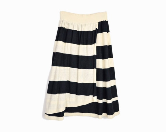 SONIA RYKIEL Striped Layer Skirt in Black and Cream (used) / Cotton Linen Skirt - 38 US 4/6