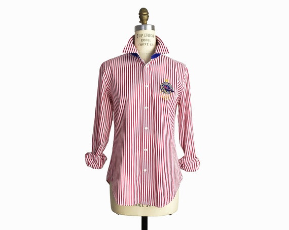 Vintage 90s Ralph Lauren Striped Shirt in Red & White / Preppy Yachting Shirt / 90s Prep - women's medium