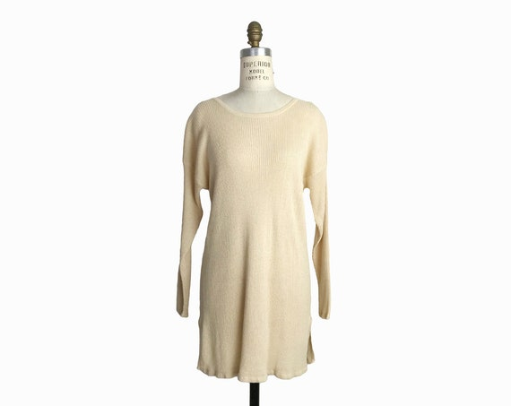 Vintage 90s Ribbed Tunic Sweater in Natural / Beige/Cream Knit Top - women's small