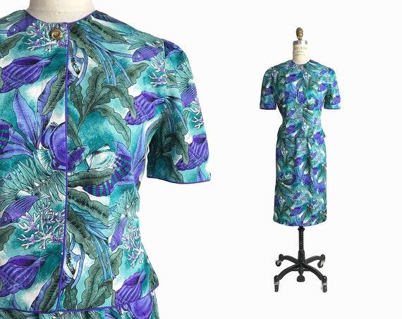 80s blue fish suit | skirt suit set