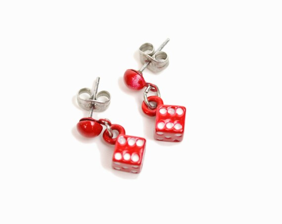 Vintage Roll-The-Dice Earrings / Red Dice Stud Earrings