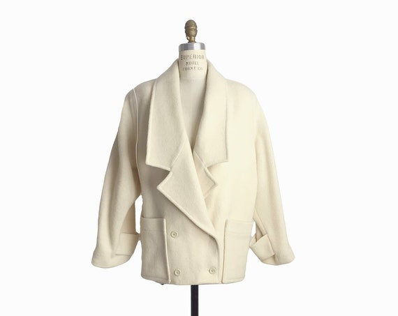 Vintage 80s Ivory Wool Winter Coat / Cozy Cream Dolman Jacket / 80s Outerwear - women's small/medium