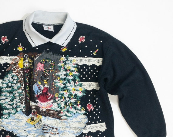 vintage black ugly Christmas sweater | puppy's first Christmas