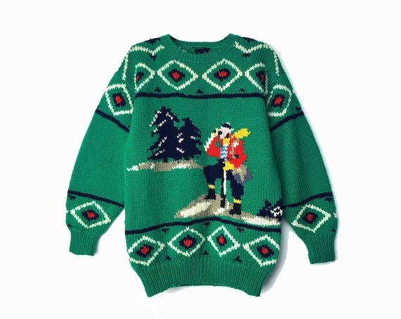 green mountaineer sweater | vintage hiking explorer