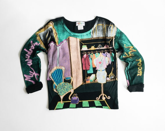 vintage fashionista top | my wardrobe | painted black cotton tee | long sleeve