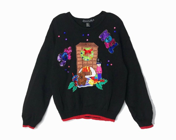 Vintage 90s Sequined Ugly Christmas Sweater / 3D Embellished Joy & Noel / Black Beaded Tacky Bear Sweater Party - women's medium
