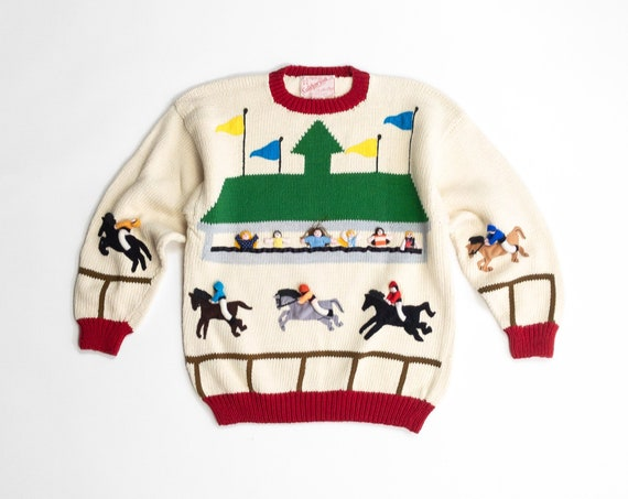 Kentucky Derby sweater | vintage horse sweater | Peruvian cotton | 3D novelty sweater