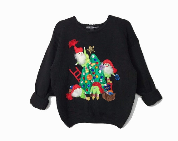 The Elves - Vintage 90s Christmas Sweater / Rhinestone Christmas Tree / 3D Embellished Fuzzy Beard / Tacky Sweater Party - women's large