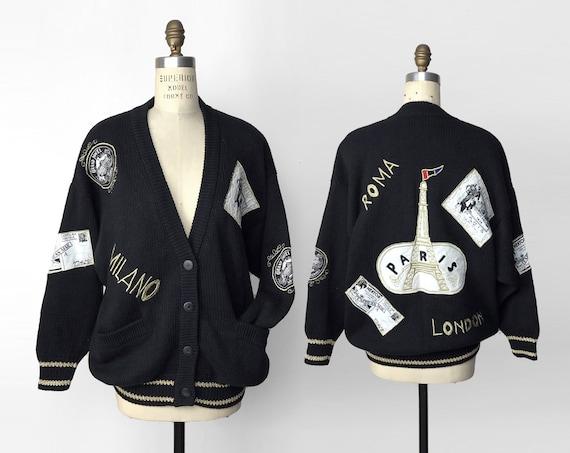 Eiffel Tower sweater jacket | Paris London Milan Rome | 80s black cardigan | world traveler coat - women's large