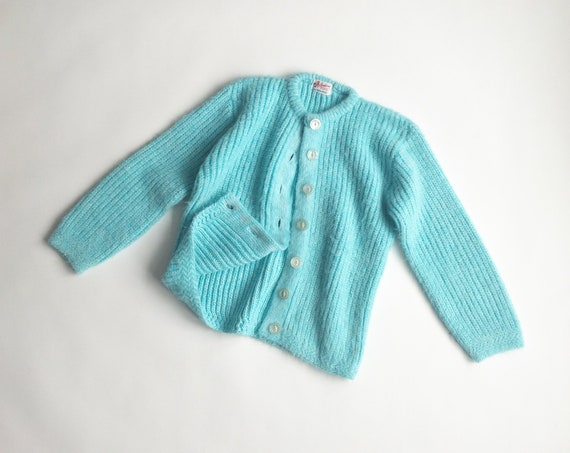 robin's egg cardigan | baby blue sweater | fuzzy knit | fairy kei - women's petite small
