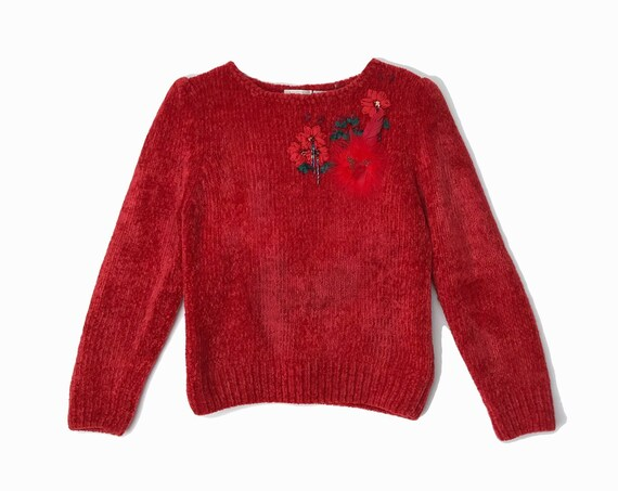 vintage valentine sweater | red chenille sweater | feather sweater - women's small